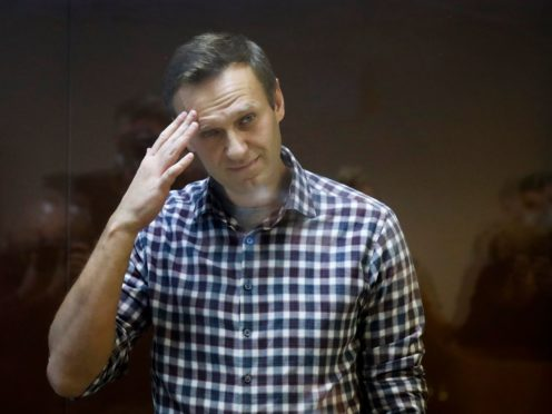 Russian opposition leader Alexei Navalny stands in a cage in the Babuskinsky District Court in Moscow, Russia (Alexander Zemlianichenko/AP)