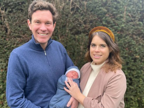 Princess Eugenie and Jack Brooksbank with their son August Philip Hawke Brooksbank (Princess Eugenie and Jack Brooksbank/PA)