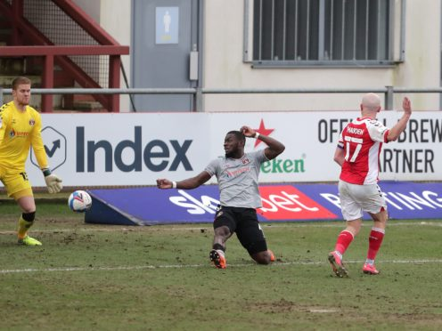 Paddy Madden (right) equalised for Fleetwood just before the break (Richard Sellers/PA)