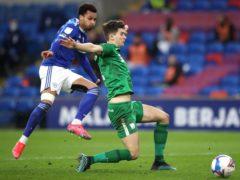 Josh Murphy, left, scores Cardiff's second (Nick Potts/PA)