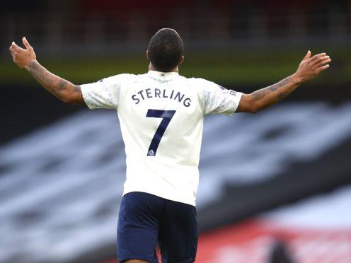 Raheem Sterling celebrates scoring against Arsenal (Julian Finney/PA)