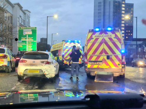 The scene on Saturday after police stopped a car (not pictured) on the A38 Bristol Road in Birmingham (West Midlands Police/PA)