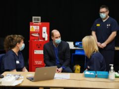 The Duke of Cambridge visited thge Covid vaccination centre at King's Lynn Corn Exchange in Norfolk (Arthur Edwards/The Sun/PA)