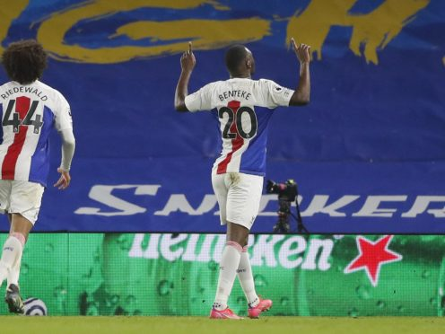 Christian Benteke, right, won it for Crystal Palace deep into stoppage time (Frank Augstein/PA)