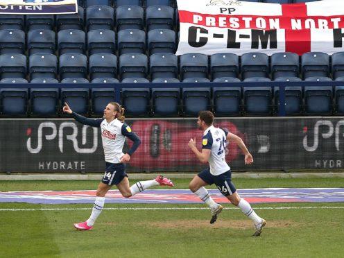 Preston's Brad Potts (left) celebrates scoring his side's first goal against Huddersfield (Tim Markland/PA)