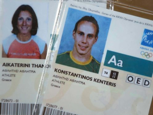 The 2004 Olympic Games accreditation handed back to the International Olympic Committee by Greek athletes by Kostas Kenteris and Katerina Thanou after their missed drugs test in Athens (Matthew Fearn/PA)