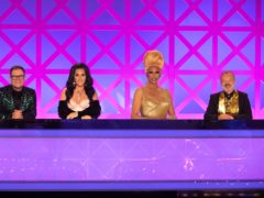 (Left to right) Alan Carr, Michelle Visage, RuPaul and Graham Norton on RuPaul's Drag Race UK (Handout)
