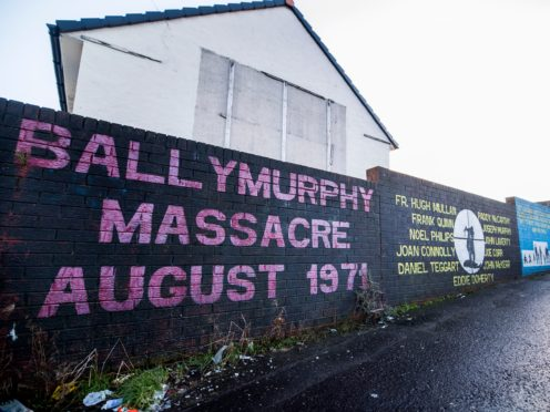 A mural on a wall in west Belfast remembering the 'Ballymurphy Massacre' of 1971 (Liam McBurney/PA)