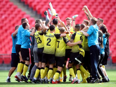 Harrogate celebrated a first promotion to the English Football League at an empty Wembley Stadium (Adam Davy/PA)