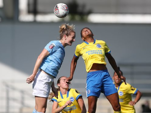 Players like Manchester City's Sam Mewis, left, will be involved in a new Premier League-led study to measure the impact of various types of heading (PA)