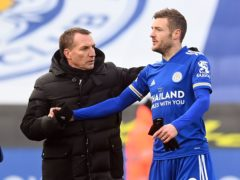 Leicester boss Brendan Rodgers (left) believes his talisman Jamie Vardy is getting back to his best (Michael Regan/PA)