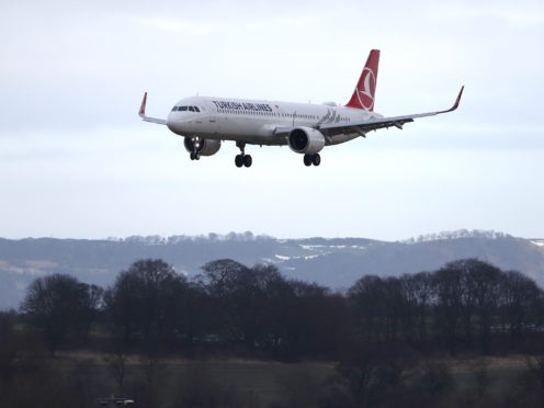 A Turkish Airlines plane at Edinburgh Airport (Andrew Milligan/PA)