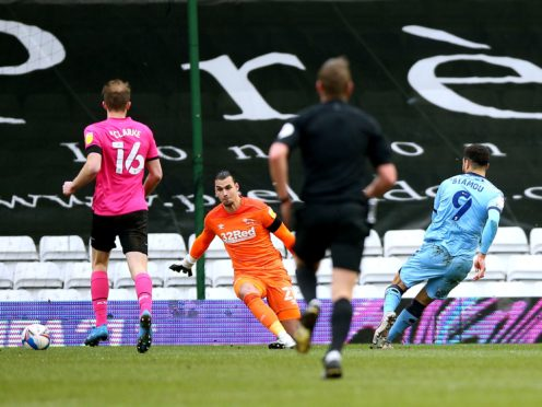 Max Biamou nets the winner for Coventry (Nigel French/PA)