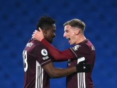Leicester's Daniel Amartey (left) celebrates his late winner with team-mate Marc Albrighton (Neil Hall/PA)