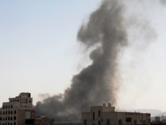 Smoke rises after Saudi-led air strikes on an army base in Sanaa, Yemen (Hani Mohammed/AP)