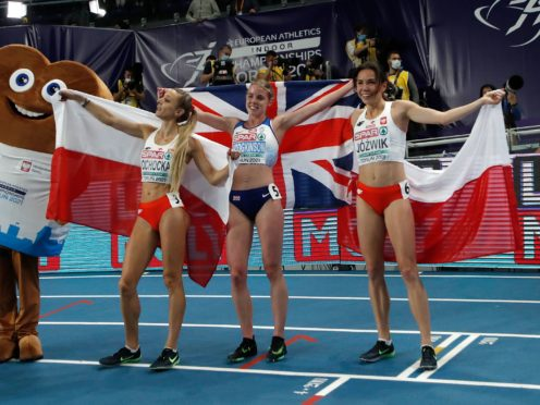 Keely Hodgkinson (centre) will not be fast-tracked despite her success in Torun (Darko Vojinovic/AP)