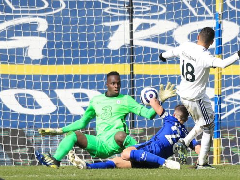 Raphinha's shot is saved by Chelsea goalkeeper Edouard Mendy (Lindsey Parnaby/PA)