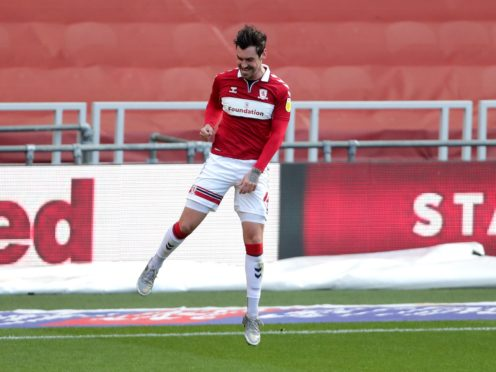 Middlesbrough's Grant Hall celebrates scoring the opening goal against Stoke (Richard Sellers/PA).