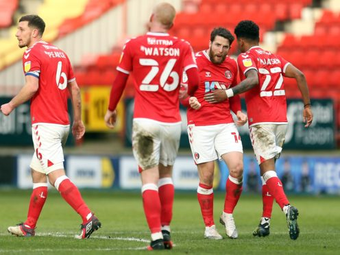 Conor Washington (second right) celebrates after equalising for Charlton (Steven Paston/PA)