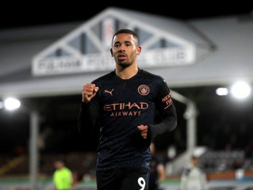Gabriel Jesus celebrates his goal against Fulham (Adam Davy/PA)