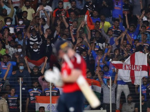 The final three matches of the series will not have spectators due to a spike in coronavirus cases in the Gujarat region (Aijaz Rahi/AP)