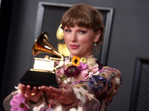 Taylor Swift thanked British boyfriend Joe Alwyn following her history-making Grammy Awards win (Jordan Strauss/Invision/AP)