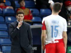 Rangers manager Steven Gerrard gestures to Slavia Prague's Ondrej Kudela (Andrew Milligan/PA).
