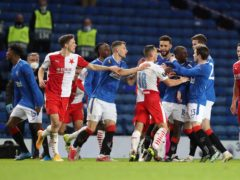 Rangers and Slavia players in the aftermath of the alleged racist comments (Andrew Milligan/PA)