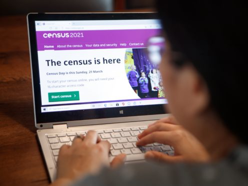 A woman logs on to the Census 2021 website (Danny Lawson/PA)