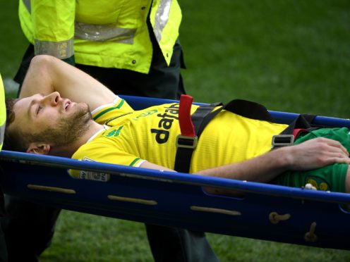 Norwich defender Ben Gibson suffered the ankle injury during the closing stages against Blackburn (Joe Giddens/PA)