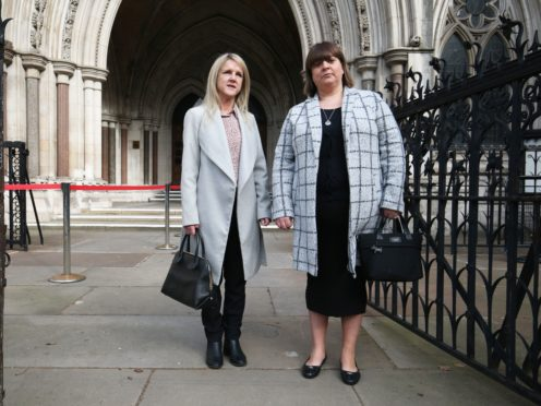 Former subpostmasters Janet Skinner (left) and Tracy Felstead outside the Royal Courts of Justice (Jonathan Brady/PA)