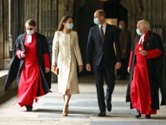 The Duke and Duchess of Cambridge with Dean of Westminster the Very Reverend Dr David Hoyle (right) and Paul Baumann, Receiver General and Chapter Clerk, arrive for a visit to the vaccination centre at Westminster Abbey (Aaron Chown/PA)