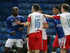 Rangers midfielder Glen Kamara (left) claims he was racially abused by Slavia defender Ondrej Kudela (Andrew Milligan/PA)
