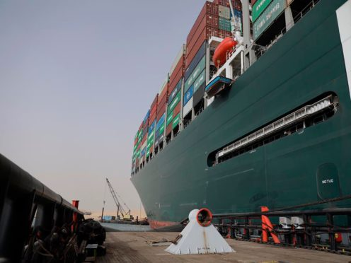 An operation is underway to try to work free the ship (Suez Canal Authority via AP)