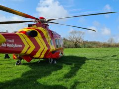 A Cornwall Air Ambulance at the scene of the crash (Cornwall Air Ambulance/PA)