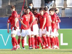 Switzerland celebrate Dan Ndoye's goal. (Luka Stanzl/PA)