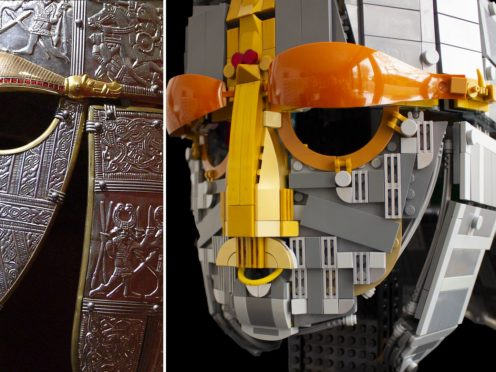 The Lego replica of the Sutton Hoo helmet was built using more than 1,000 bricks (Andrew Webb/PA)