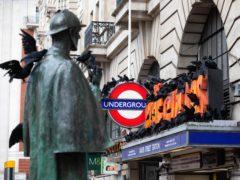 The model ravens descend on Baker Street station (David Parry/PA)