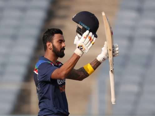 India's KL Rahul celebrates scoring a century during the second ODI against England in Pune (Rafiq Maqbool, AP/Press Association images)