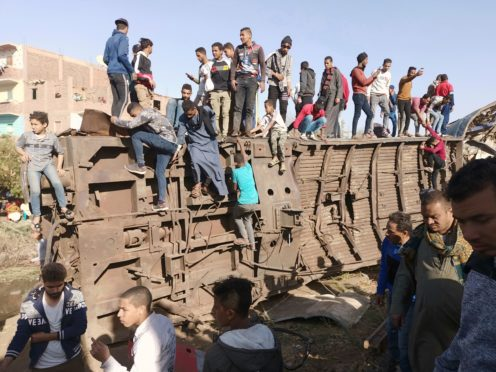 The scene of the accident in Sohag (AP)