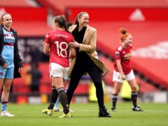 Casey Stoney's Manchester United Women won their first match at Old Trafford (Zac Goodwin/PA)