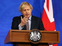 Boris Johnson during a media briefing on coronavirus from Downing Street's new media briefing room (Hollie Adams/PA)
