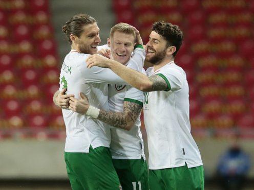 Republic of Ireland's James McClean (centre) celebrates his goal against Qatar (Trenka Attila/PA)
