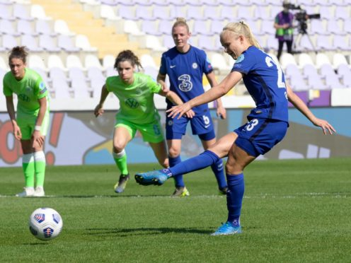 Pernille Harder scores a penalty in Budapest (Szilard Koszticsak/AP)