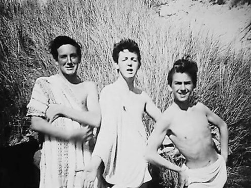 Paul McCartney and George Harrison on holiday in Harlech, North Wales, with John Brierley, pictured left (John Brierley/PA)