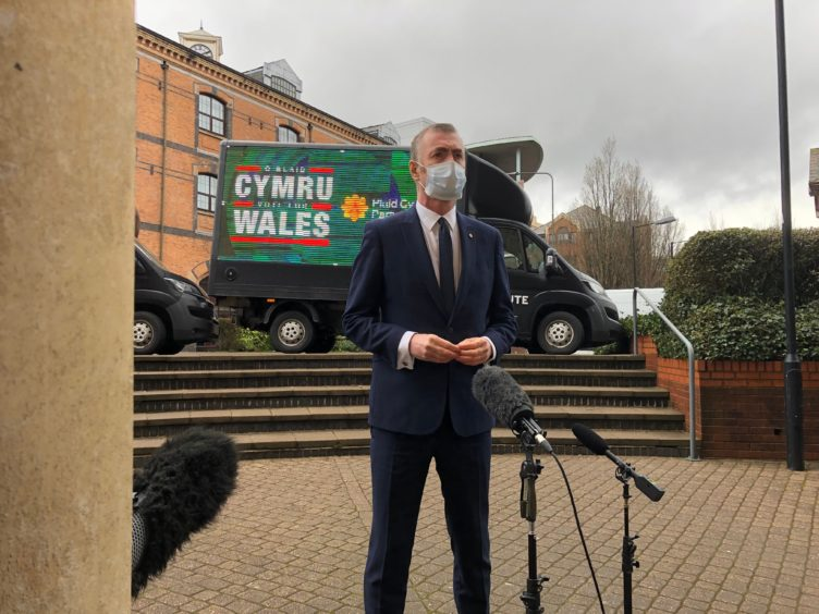 Plaid Cymru leader Adam Price launched his party's Welsh Parliament election campaign in Cardiff (Adam Hale/PA)