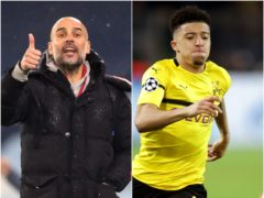 Jadon Sancho, right, is set to face former club Manchester City and Pep Guardiola next month (Martin Rickett/Adam Davy/PA)