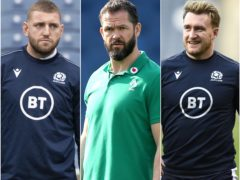 Andy Farrell, centre, hopes Ireland can contain Scotland stars Finn Russell, left, and Stuart Hogg, right (PA)
