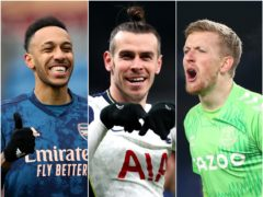 Gareth Bale, centre, heads this week's FPL transfer rankings with Pierre-Emerick Aubameyang, left, and Jordan Pickford back in favour ( Clive Brunskill/Clive Rose/Peter Byrne/PA)