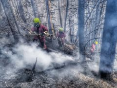 Firefighters putting out a blaze in the South Wales valleys (South Wales Fire and Rescue Service)